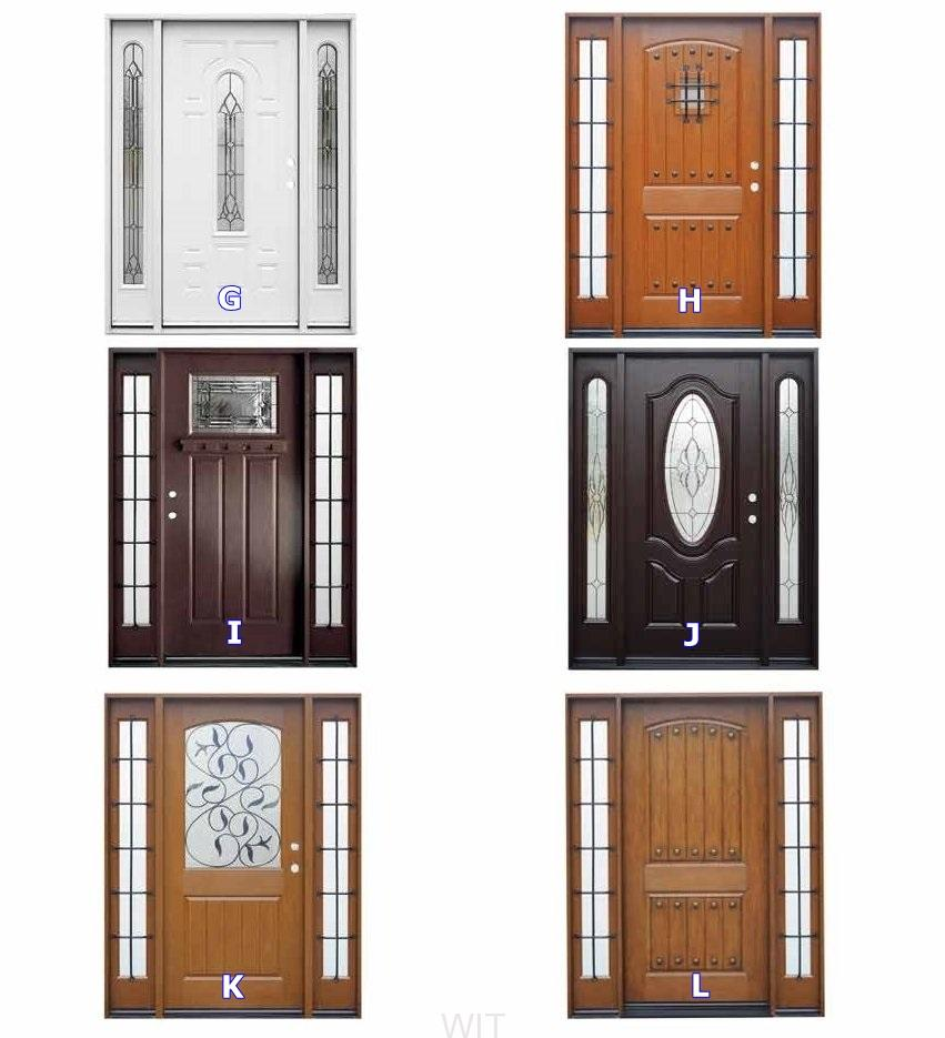 Fiberglass front entry doors redlands for Double door with side windows