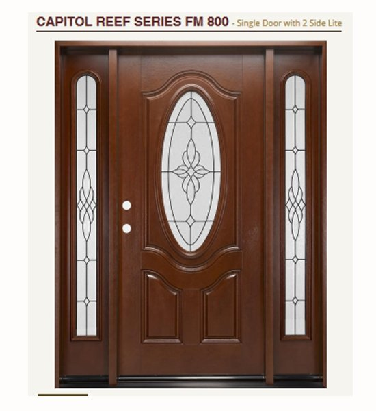 fiberglass front door with oval and sidelights