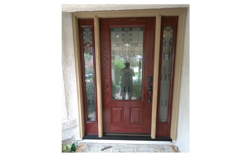 staining of fiberglass front door with sidelights | WIT Windows and ...